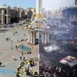 A Kijev-i függetlenség tér, a forradalom előtt és után. - indapress.hu
